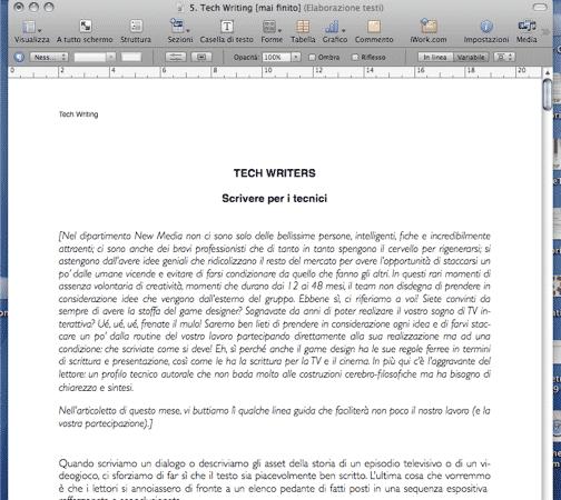 Fonts, intestazioni e margini dovrebbero rimanere costanti nel corso del documento.